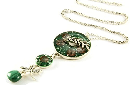 (Orgone Energy Toggle Charm Long Statement Necklace in Antiqued Silver Finish with Malachite)