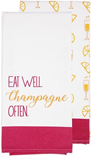 Pavilion Gift Company - Eat Well. Champagne Often - Pink & Orange Patterned Tea Towel Set of - Tea Champagne