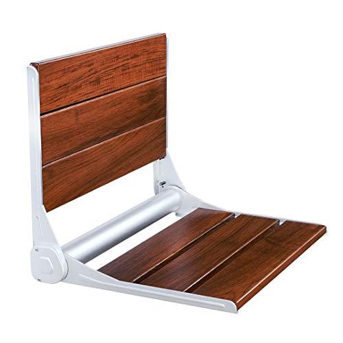 finnsalle Teak Wood Folding Shower Seat,Aluminum+Wood Wall Seat Wall Chair Foldable Humanized Design FS-03