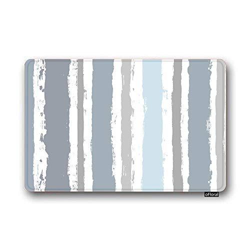 (oFloral Paint Lines Door Mat Texture Mariner Sea Watercolor Sailor Stripes Easy Clean Non-Slip Back Entrance Mat for Front Door Bedroom Washroom)