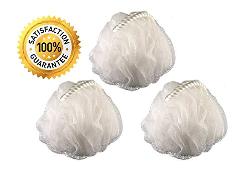 3 Pack White Loofah by Monthly Loofy Exfoliating Soft Shower Sponge Bath Ball Mesh Luxury Pouf Set ( 50g /pcs) (3, (Luxury Bath Shower)