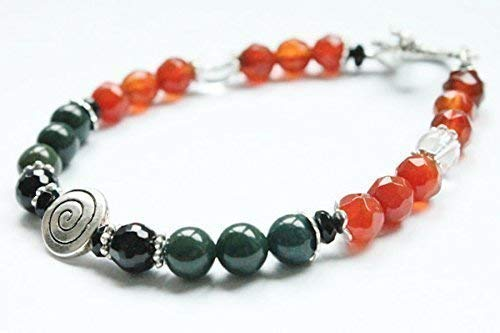 Swirl Gemstone Bracelet for Depression, Anti Anxiety, Stress Relief with Carnelian, Bloodstone, Black Onyx, Rock Crystal,Positive Crystal Energy,Holistic ()