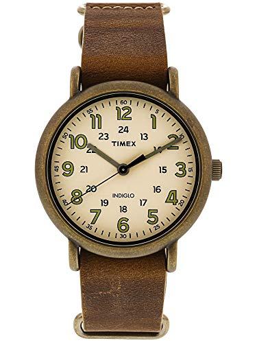 Timex Men's TW2P85700 Weekender 40 Antiqued Brass/Brown Leather Slip-Thru Strap Watch