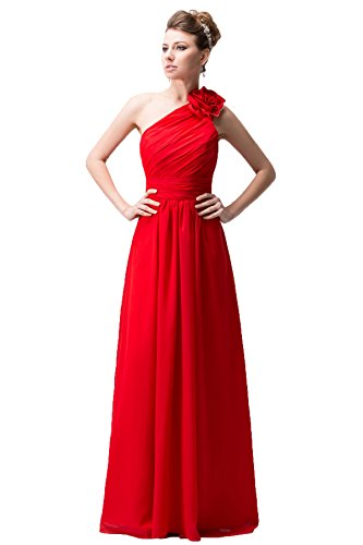 Snowskite Women's One Shoulder Long Chiffon Evening Formal Bridesmaid Dress Red 26