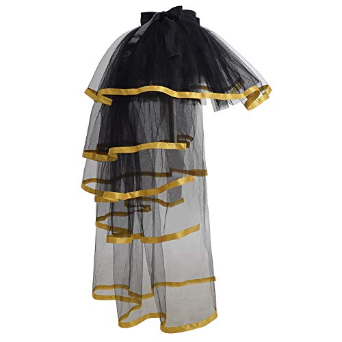 Bustle Over Skirt - GRACEART Steampunk Tie-on Bustle Costume Tutu Lace Underskirt (Golden Edge)