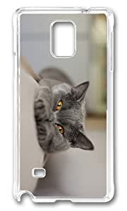 MOKSHOP Adorable cat funny Hard Case Protective Shell Cell Phone Cover For Samsung Galaxy Note 4 - PC Transparent