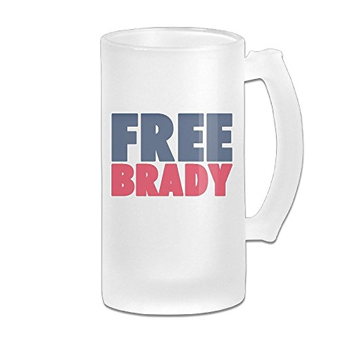 (Free Brady Funny Football 16OZ Frosted Glass Beer Mugs Fashion Glass Beer)