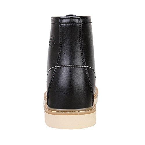 Rismart Zapatos De Elevación De Tacón Ocultos Con Estilo Para Hombre Botas De Botín De Cuero Genuino Negro Negro Sn0027-9 Us7.5