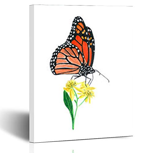 Armko Canvas Wall Art Prints Artistic Hand Drawn Oil Pastel Painting Orange Wings Monarch Butterfly On Yellow Flowers Wildlife 12 x 12 Inches Wooden Framed Painting Home Decor Bedroom Office