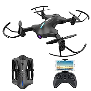 ATOYX AT-146 FPV Foldable RC Drone, 720P Wide Angle HD Camera Live Video WiFi Quadcopter With Altitude Hold Headless Mode 3D Flips One Key Take-Off/Landing for Beginners Kids 41Lv1 2B0ookL