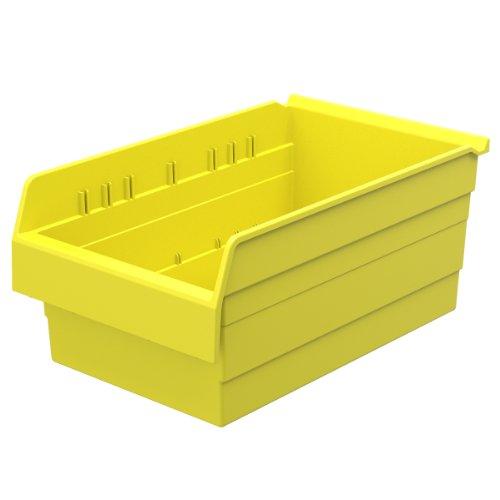 Akro-Mils 30808 ShelfMax 8 Plastic Nesting Shelf Bin Box, 18-Inch x 11-Inch x 8-Inch, Yellow, (Akro Mills Container)