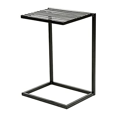 MyGift Slide Under Sofa Side Table, Metal Slats Snacks and Laptop Tray, Black - A freestanding sofa table made of sturdy metal bars with a classic black finish. The rectangular base is designed keep your table upright and to slide under the sofa with ease. The tabletop is perfect for holding your laptop, book, writing materials, dinner, snacks, and more. - living-room-furniture, living-room, end-tables - 41Lv1EQmhyL. SS400  -