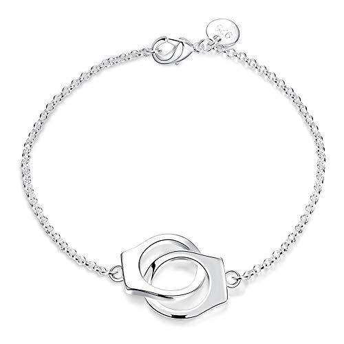 ACZDFAZ New Sexy Fashion Charms Handcuffs Bracelet 925 Jewelry Silver Plated Link Chain Bangle Women Bracelet Gift Ladies Jewelry