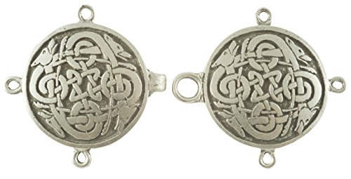 - Celtic Wolves Cloak or Cape Clasp - Pewter