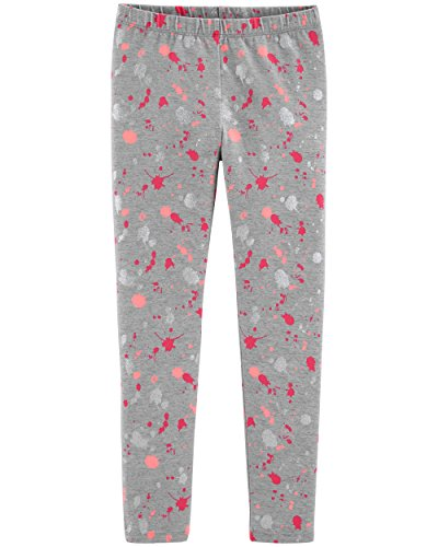 Osh Kosh Girls' Kids Full Length Legging, Grey Paint Splatter, 8