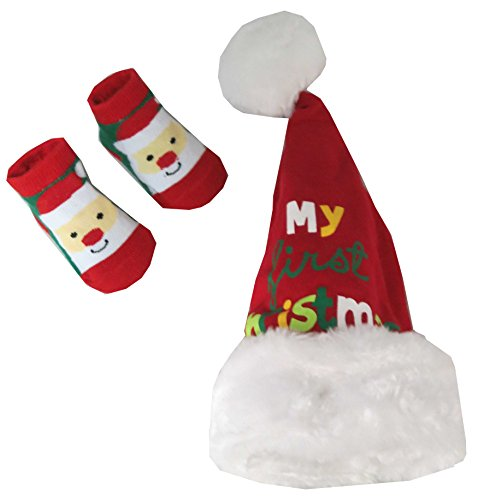 Rising Star My First Christmas Hat and Socks Set Unisex-Baby Size 0-12 months