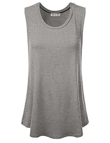 Doublju Women Comfort Round Neck Yoga Wear Stretchy HEATHERGREY Casual Top,XX-Large,2XL