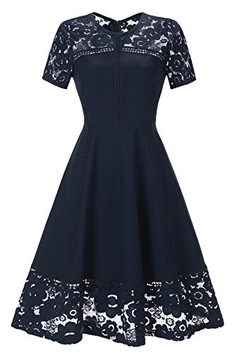 [Gigileer Women's Vintage 1950s Floral Lace Contrast Cocktail Swing Dress (XL(10-12), Navy)] (1950 Dress)