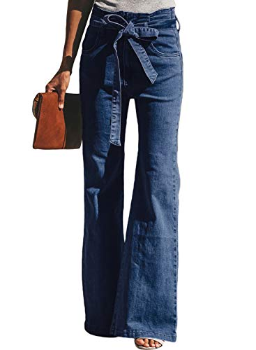 Dokotoo Womens Casual Fashion Ladies Solid Classic High Waist Sash Tie Pockets Wide Leg Fitted Slim Flare Bell Bottom Denim Jeans Long Pants Large