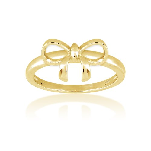 Gold Plated Bow (Sterling Silver Gold-Plated Bow Ring (Size 8) Available in sizes 5 - 6 - 7 - 8 - 9 - 10)