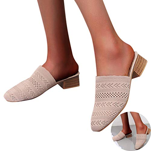 Woman Knit Mesh Fabric Sandals Low Heel Comfy Slingback Slippers Casual Outdoor Slippers Pumps Pointed Toe Loafers Shoes (Khaki, 7 .5 M US)