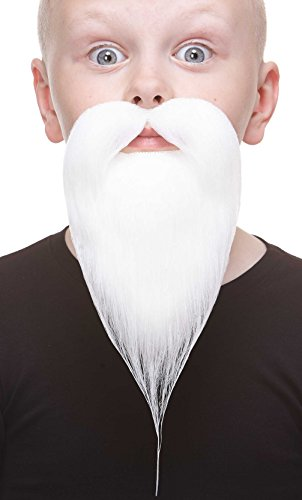 Mustaches Fake Beard, Self Adhesive, Novelty, Small Philosopher False Facial Hair, Costume Accessory for Kids, White Color -