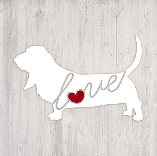 Basset Hound Love - Car Window Vinyl Decal Sticker (Script Font) ()