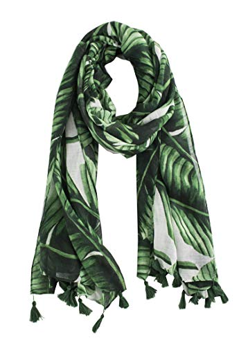 StylesILove Womens Cozy Tassels Oblong Cotton Scarf Lightweight Shawls Wrap (Palm -
