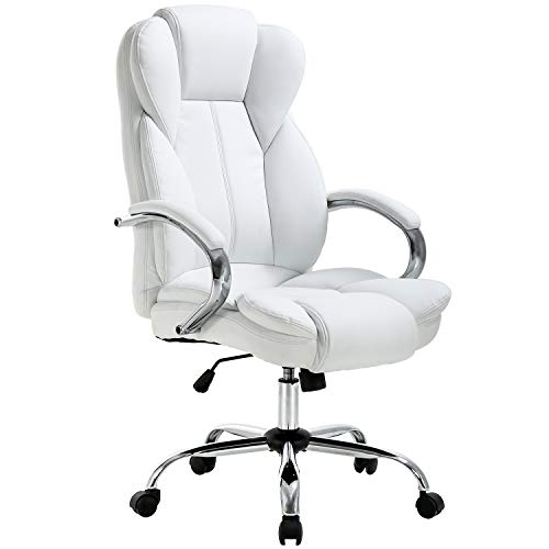 Ergonomic Office Chair Desk Chair PU Leather Computer Chair Executive Adjustable High Back PU Leather Task Rolling Swivel Chair with Lumbar Support for Women Men, White (Best Affordable Desk Chair)