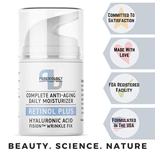 41Lv3XAT 4L - Pure Biology Retinol Moisturizer Cream with Hyaluronic Acid, Vitamins B5, E & Breakthrough Anti Aging, Anti Wrinkle Complex - Face & Eye Skin Care for Men & Women, All Skin Types, 1.7 OZ