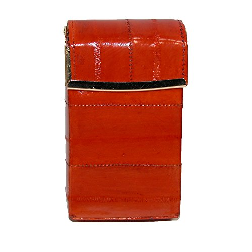 Hinged Closure (Marshal Leather Women's Eel Skin Cigarette Case with Hinged Closure, Rust)