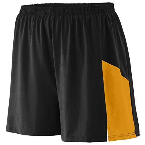 Augusta Athletic Sprint Short - Youth, Black/Gold, Small by Augusta Athletic
