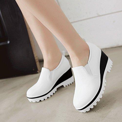 Mee Shoes Damen Keilabsatz Geschlossen runde Pumps Weiß