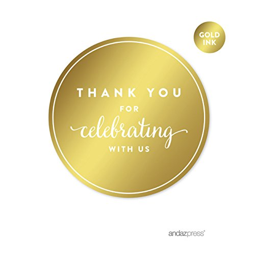 Andaz Press Round Circle Favor Gift Labels Stickers, Metallic Gold Ink, Thank You for Celebrating with US, 40-Pack