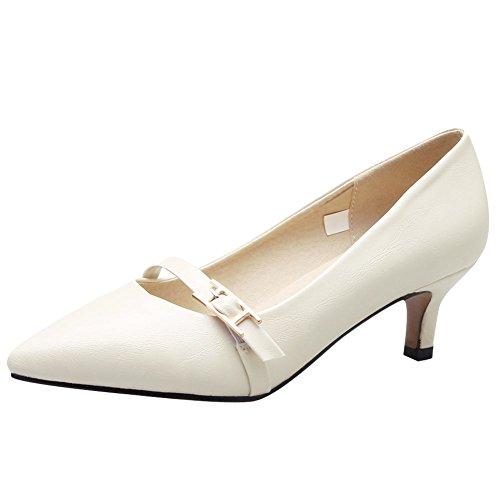 Carolbar Women's Elegant Charm Pointed Toe Mid Heel Buckle Court Shoes apricot cEcPKq3