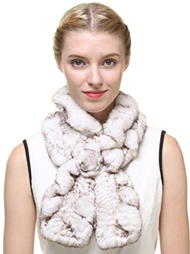 Knitted Fur Scarf (Vogueearth Women'Real Knitted Rabbit Fur Winter Warmer Scarf Off-White)