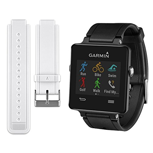 Garmin Vivoactive Smartwatch Bundle - Black w/ Replacement White Strap
