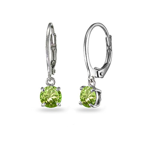 - LOVVE Sterling Silver Peridot 6mm Round Dangle Leverback Earrings