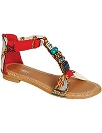 GIGI 92 Gladiator Tribal Decorated Flat Sandals Red