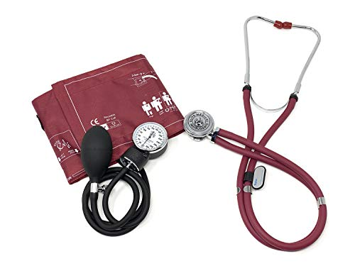 EMI 330 Sprague Rappaport Stethoscope and Aneroid Sphygmomanometer Manual Blood Pressure Set Kit (Burgundy)