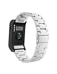 MoKo Watch Band for Garmin Vivoactive HR, Universal Stainless Steel Adjustbale Watch Band Strap Bracelet with Adapter Tools ONLY for Garmin Vivoactive HR Sports GPS Smart Watch, Silver