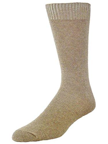 B.ella Men's Estore Cashmere Blend Jersey Crew Socks, Taupe, Large