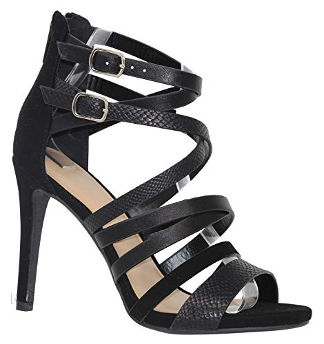 MVE Shoes Womens Sexy Open Toe Heeled Sandals, Cross Straps Party Heels, Taddy blk Multi ()