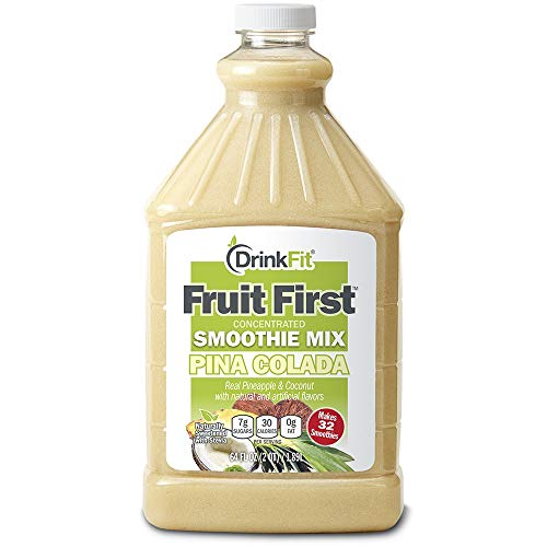 (DrinkFit Blender Smoothie Mix - Concentrated Real Fruit Puree - Low Calorie Stevia - Vegan Kosher, Gluten Soy Lactose Fat Free - 64 oz Bottle (Pina Colada))