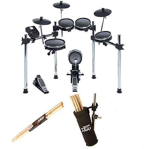 Alesis Dm6 Drum Electronic - Alesis SURGE MESH KIT Eight-Piece Electronic Drum Kit with Mesh Heads + On Stage Drum Stick Holder DA100 & On Stage Maple Wood 5B (1 Pair) Of Drumsticks