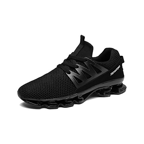 Mu Yangren Springblade Sport Running Shoes, Men's Blade Mesh Breathable Trail Runners Fashion Sneakers Black 45