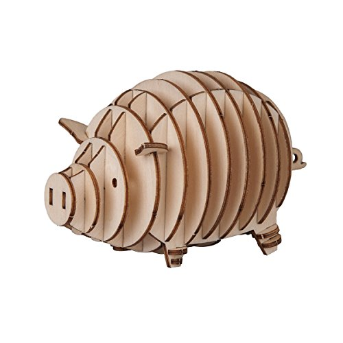 Torch 3D Wood Puzzle Wooden DIY Children Gift Collection (Pig)]()