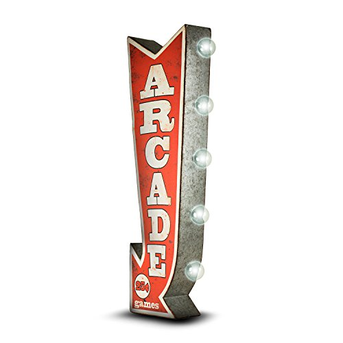 (Arcade Reproduction Vintage Advertising Sign - Battery Powered LED Lights, Double Sided Metal Wall Mounted - 25 x 10 x 3 inches)