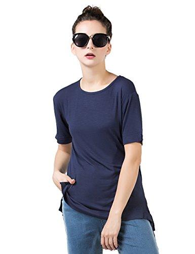 PERHAPS U Womens Crew Neck Soft Tee Slub Cotton Plain Basic Tee Shirts(M, Navy Blue) (Crewneck Slub T-shirt)