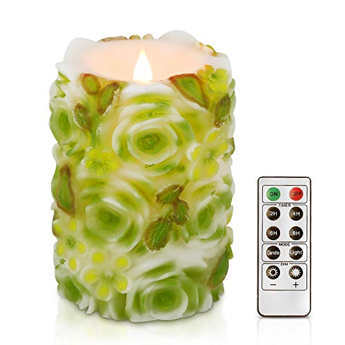 Green Garden Flower Candle - simpdecor Flameless Candle 3D Flickering Pillar Flameless Battery Operated LED Candles with Timer and Remote for Home Decor Birthday's (Green)